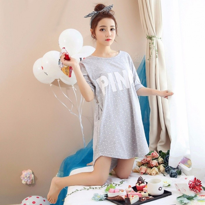 9665c36f10fb ... Summer Women Cute Sexy Ladies Short Sleeved Nightdress Loose Sleeping  Dress Sleepwear Home Clothes Pajamas Coral ...