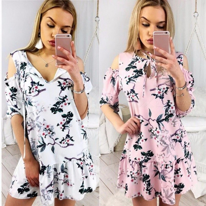 Women Fashion Casual Ladies Loose Print Strap Down Flounce Swing Midi Dress For Summer White/XL