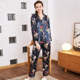 Spring Fashion Silk Pajamas Set, Women's Long-sleeved Top And Trousers, Two-piece Homewear Suit Brown/XL