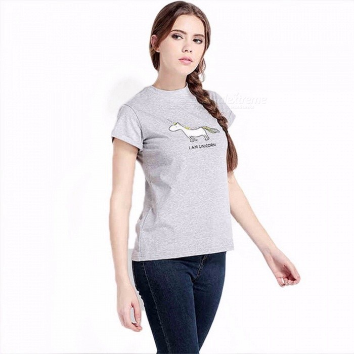 Buy Cute Cartoon Unicorn Print Summer T Shirt Women Tops Short Sleeve T-shirt Graphic Tees Casual Women Clothes White/XXL with Litecoins with Free Shipping on Gipsybee.com