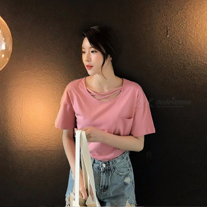 Summer Short Sleeve Shirt Women Korean Fashion Loose T Shirt Sexy Hollow Neckline Cross Strap Women T-shirt Tees White/XL