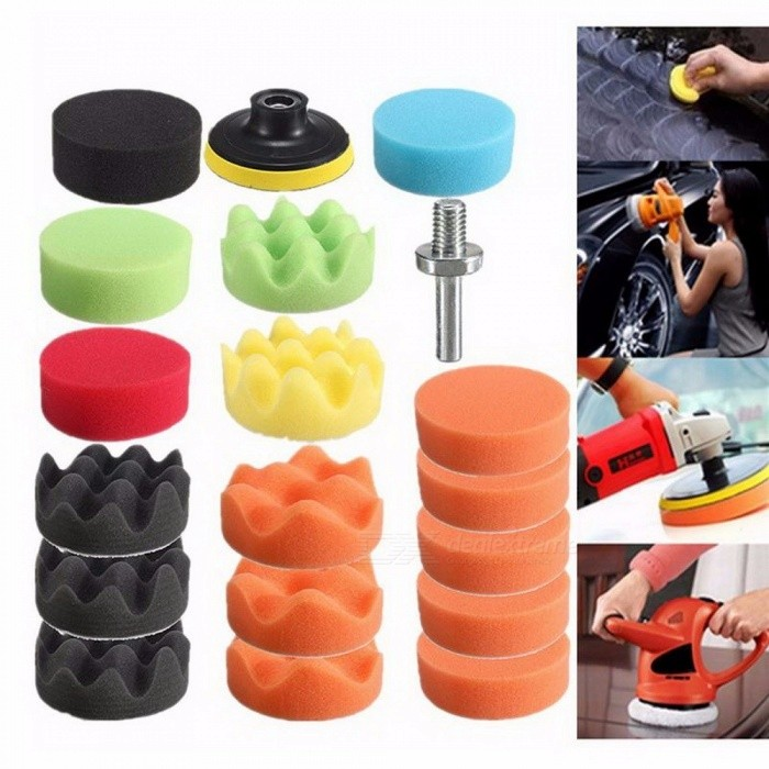 19Pcs Car Care Kit Buffing Sponge Polishing Pad Disc Wool Disc Polishing Wax Sanding Pad Kit For Car Colorless