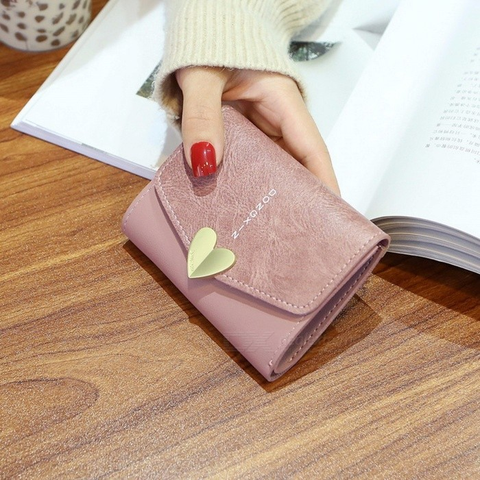 Buy Love Small Women\'s Wallet Purse, Folding Student Change Coin Wallet, Female Short Paragraph PU Leather Wallet Coffee with Litecoins with Free Shipping on Gipsybee.com