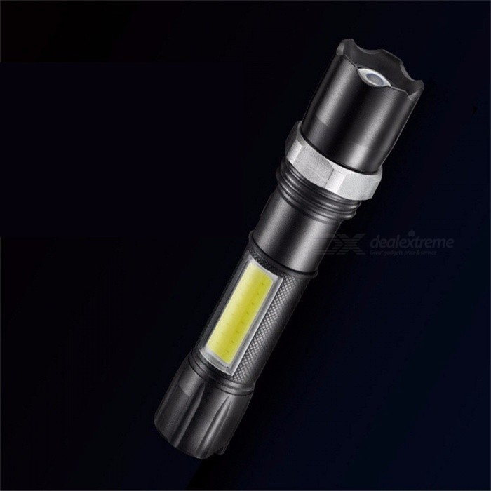 Portable Super Bright COB LED Zooming Flashlight With Side Light, USB Rechargeable Mini Tactical Torch White/Black for sale in Bitcoin, Litecoin, Ethereum, Bitcoin Cash with the best price and Free Shipping on Gipsybee.com