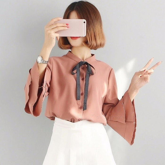 Fashion Sweet Double Layer Pleated Ruffle Long-Sleeve Lace Chiffon Shirt Bowknot Straps Shirt Blouse For Women Coral Red/One Size