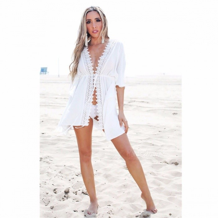 Buy Summer Cotton Corchet Cardigan Blouse, Women Lace Kimono, Fashion Sexy Beach Tops Shirt White/XL with Litecoins with Free Shipping on Gipsybee.com