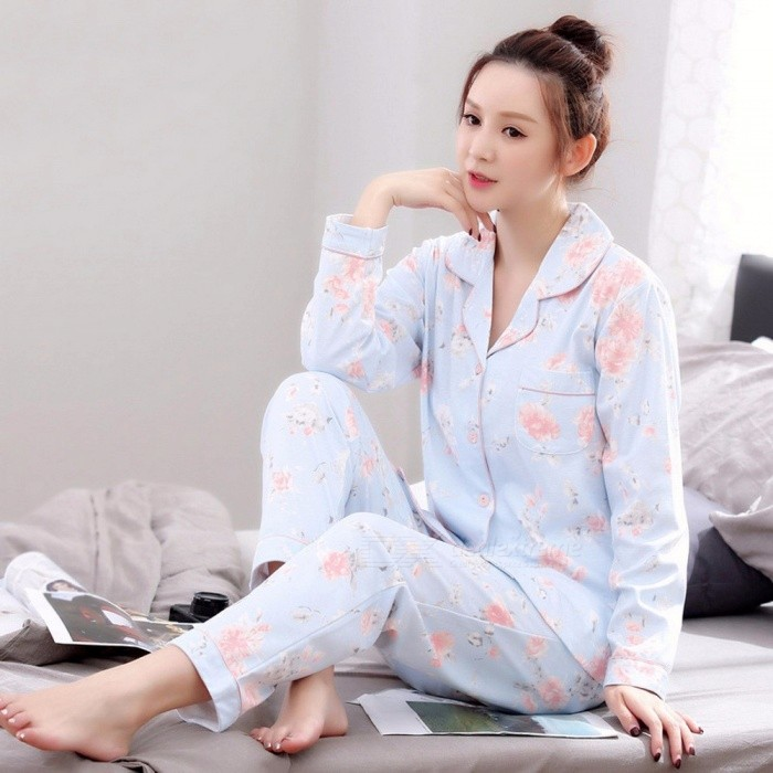 Buy Women Pajamas Set Spring Autumn Long Sleeve Cotton Top + Pants Pajamas Women Sweet Cute Floral Printed Home Clothing Sky Blue/XXXL with Litecoins with Free Shipping on Gipsybee.com
