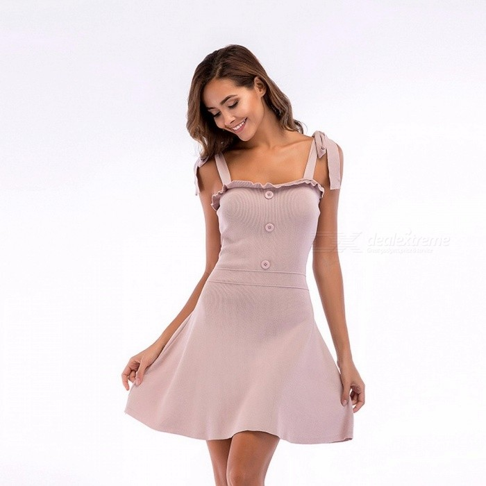 Fashion Dress Female Strap Summer Dress Women Sexy Dresses Knitting Slip Dress Elegant Party A-line Mini Dress Burgundy/XL for sale for the best price on Gipsybee.com.