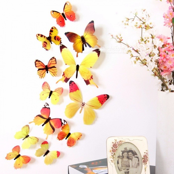Buy 12Pcs New Qualified Wall Stickers Decal, Home Decorative 3D Butterfly Rainbow PVC Wallpaper For Living Room Yellow with Litecoins with Free Shipping on Gipsybee.com