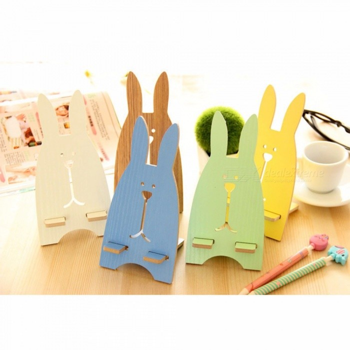 Jailbreak Rabbit Mobile Phone Charging Bracket, Wooden Lazy Bed DIY Phone Holder Stent Holder For IPHONE, Android Phones