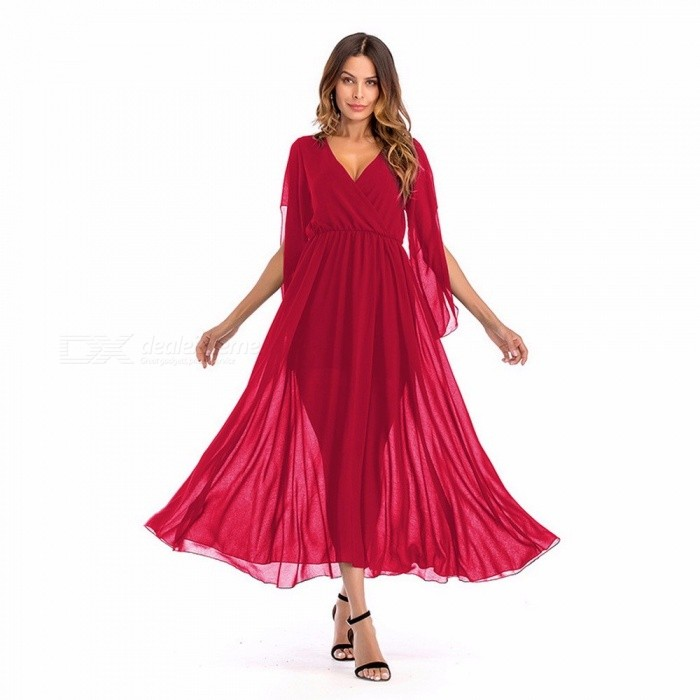 Buy Women\'s Fashion Sexy Deep V-neck Stitching Solid Color High Waist Chiffon Dress Party Long Dresses Red/XXL with Litecoins with Free Shipping on Gipsybee.com