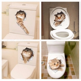 Cat Vivid 3D Smashed Switch Wall Sticker, Bathroom Toilet Kitchen Decorative Decal, Funny Animals Decor PVC Poster