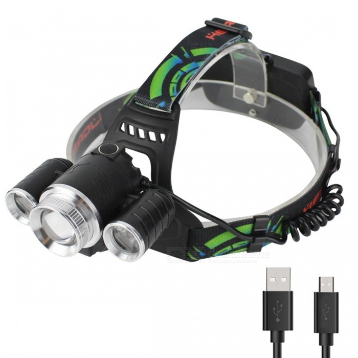 Buy Rechargeable LED 3000LM Cree XM-L T6 + 2 XPE Headlight Zoom Head Lamp Outdoor Cycling Fishing Light LED Headlamp White/Black with Litecoins with Free Shipping on Gipsybee.com