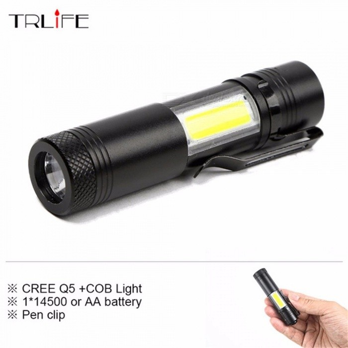 Buy Mini Portable LED Flashlight, CREE Q5 COB Work Light, Waterproof Lamp, Rechargeable Lanterna For 14500 Or AA Battery White/Black with Litecoins with Free Shipping on Gipsybee.com