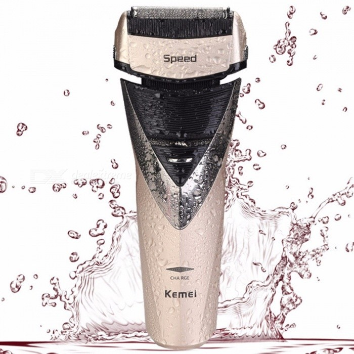 Buy KM-8102 Professional Electric Shaver, Rechargeable Waterproof Shaving Trimmer For Man Beard, Men Face Care Razor Golden with Litecoins with Free Shipping on Gipsybee.com