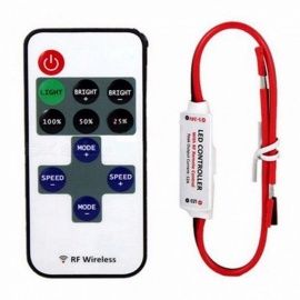 1 Conjunto 12 V RF Mini Interruptor Do Controlador Sem Fio LED Dimmer Com Interruptor Remoto Mini In-line Controlador De Luz LED Dimmer Branco / 12 V