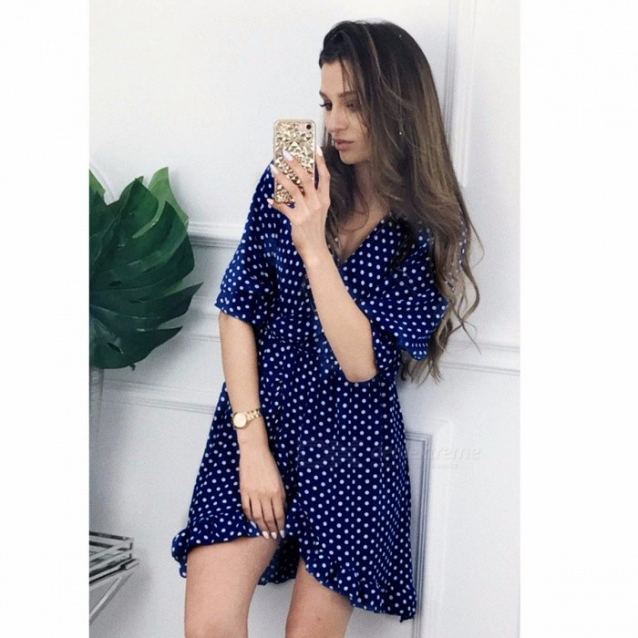Summer V Neck Polka Dot Dress, 2018 Sexy Cuff Flounce Mini One-Piece Dress Yellow/XL
