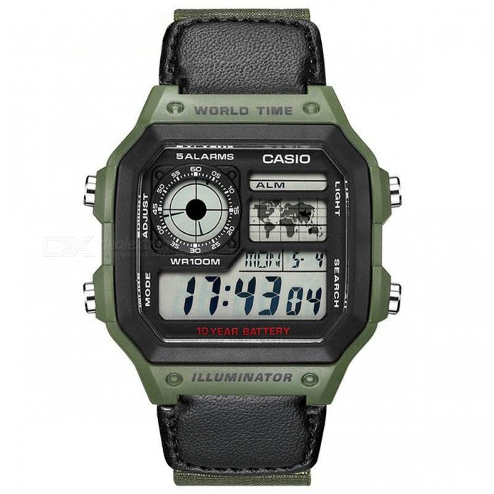 Buy Casio AE-1200WHB-3B Standard Digital Watch - Black/Olive(Without Box) with Litecoins with Free Shipping on Gipsybee.com