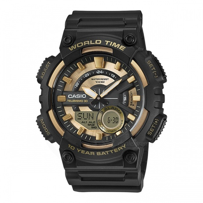 Casio AEQ-110BW-9A Standard Analog Digital Watch - Black Gold (Without Box)