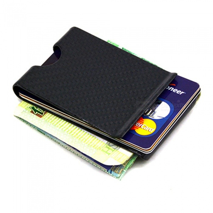 Buy VELEDGE Double-Sided Slim Wallet RFID Blocking Carbon Fiber Money Clip - Black with Litecoins with Free Shipping on Gipsybee.com
