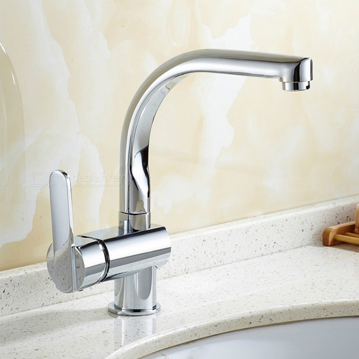 Brass Chrome 360 Degree Rotatable One-Hole Bathroom Sink Faucet with Ceramic Valve, Single Handle