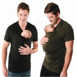 V-Neck-Father-Carrier-T-shirt-Tops-Baby-Carrier-Tees-Multi-function-Summer-Front-Carry-Pocket-Kangaroo-Clothing