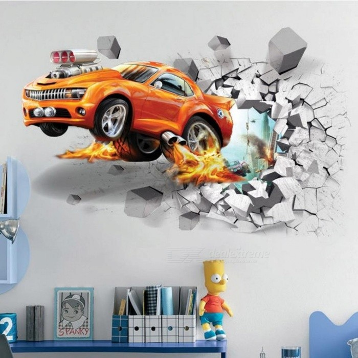 1pc Creative Football 3D Wall Stickers Basketball Broken Wall Art Decal Car Wall Poster Kids Room Decoration Boys Favors Car