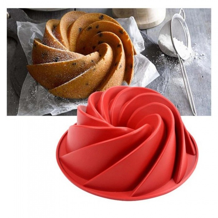 9.76 Inch Large Spiral Shape Silicone Bundt Cake Pan Bread Bakeware Mold Baking Tools Baking Dishes & Pans Red