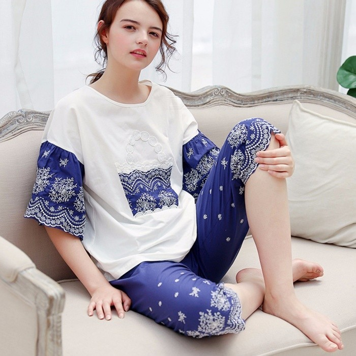 Buy Stylish Casual Summer Nightwear Women\'s Shorts Sleeves Top + Shorts Pants Set Homewear Blue/L with Litecoins with Free Shipping on Gipsybee.com