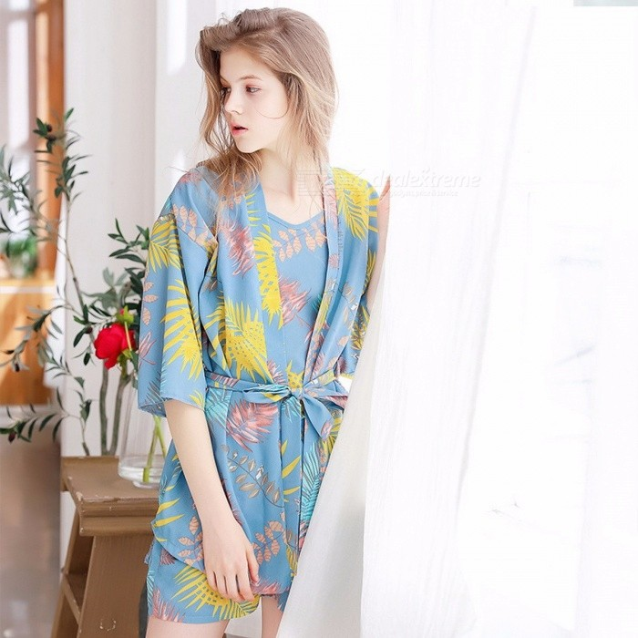 Buy Women Pajama Set, Summer Chiffon Sexy Three-piece Flower Printed Homewear Suit, V Neck Strap Tops + Shorts + Outer Robe Blue/One Size with Litecoins with Free Shipping on Gipsybee.com