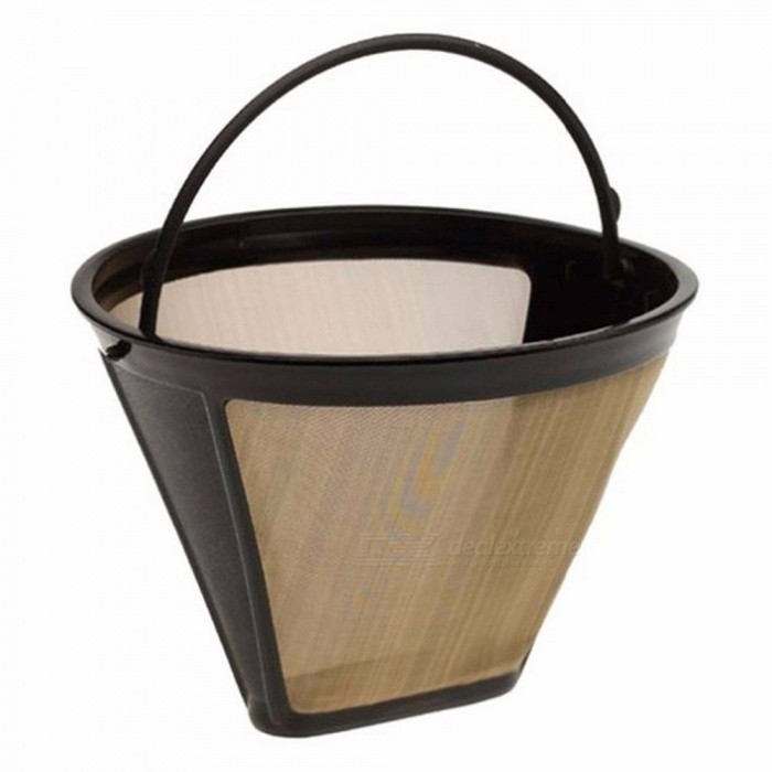 Cone Shape Permanent Coffee Filter 10-12 Cup Washable Reusable Coffee Filter Mesh Black