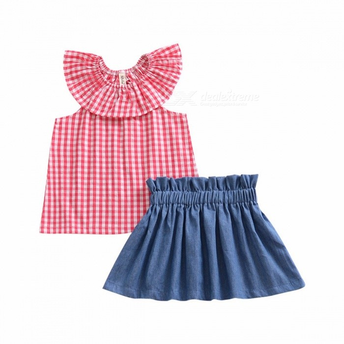 Baby Girl Child Suit Summer Lotus Leaf Collar Plaid Sleeveless T Shirt + Lace Denim Skirt Suit Red/5