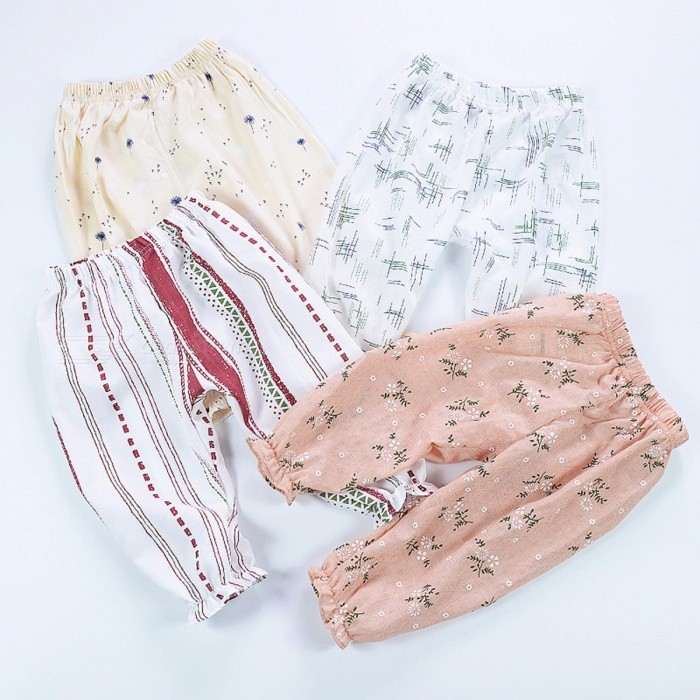 Summer Baby Girls Leggings Candy Color Floral Loose Harem Pants Anti Mosquitoes Outfit Infant Girl Ruffles Trousers Pink/5
