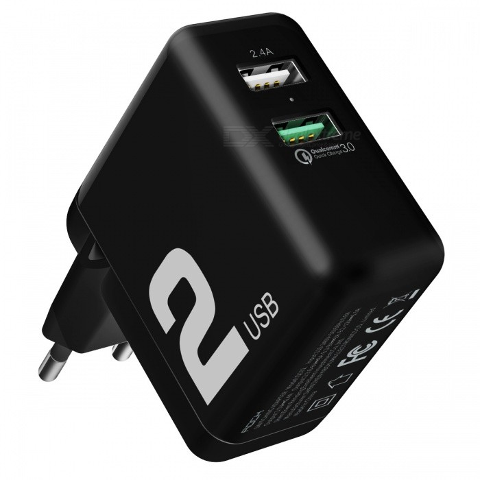 ROCK T13 QC3.0 Dual USB Ports Travel Charger (EU Plug) Black/Universal