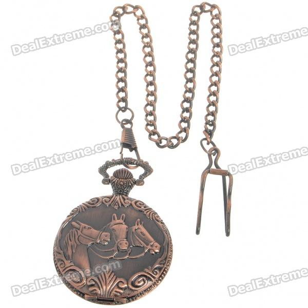 Buy Vintage Metal Pocket Quartz Watch with Chains - Horses (1*377) with Litecoins with Free Shipping on Gipsybee.com