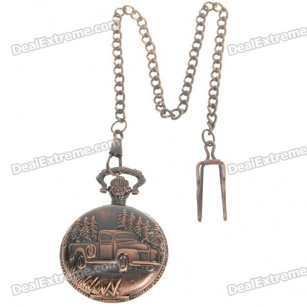 Buy Vintage Metal Pocket Quartz Watch with Chains - Truck (1*377) with Litecoins with Free Shipping on Gipsybee.com