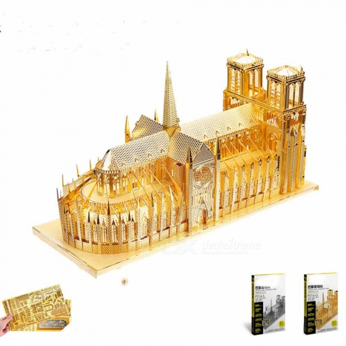 ZHAOYAO 3d Metal Puzzle of Notre Dame De Paris DIY 3D Assembled Architectural Model Jigsaws for Kids Toys - Gold