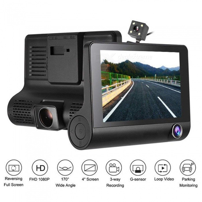 Buy 4 Inch Full HD 1080P Car DVR Dash Cam Camera Three Lens Camcorder Support G-sensor / Motion Detection / Loop Recording with Litecoins with Free Shipping on Gipsybee.com