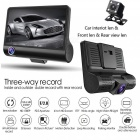 4 Inch Full HD 1080P Car DVR Dash Cam Camera Three Lens Camcorder Support G-sensor / Motion Detection / Loop Recording