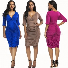 Women's Sexy Deep V Neck Nightclub Dresses, Plus Size Package Hip Plain Dress