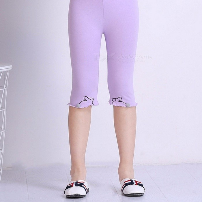 Children\'s Leggings Cotton Cropped Pants, Bunny Pattern Capris Lavender/11