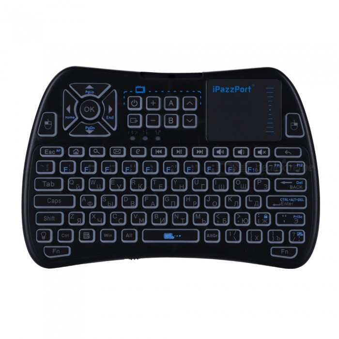 Buy iPazzPort Mini 2.4GHz Wireless Keyboard with Touchpad - Black (Russian) with Litecoins with Free Shipping on Gipsybee.com
