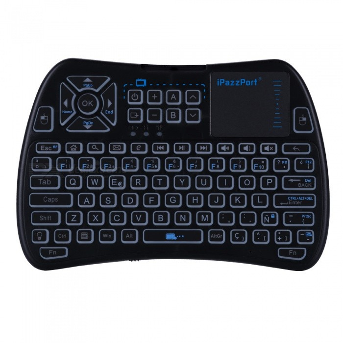 Buy iPazzPort Mini 2.4GHz Wireless Keyboard with Touchpad - Black (Spanish) with Litecoins with Free Shipping on Gipsybee.com