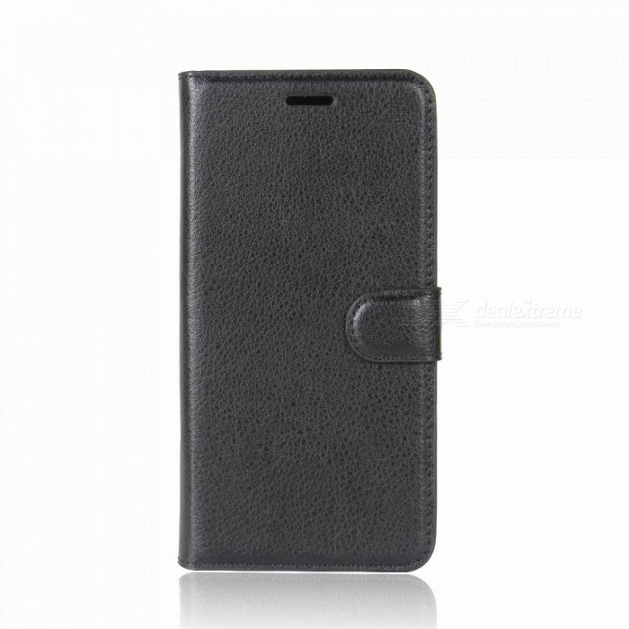 Lichee Pattern PU Leather Full Cover Wallet Phone Case for Oukitel C8 - Black