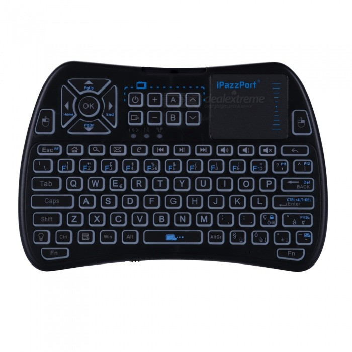 iPazzPort Mini 2.4GHz Wireless Keyboard with Touchpad - Black (Italian)