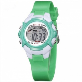 62C 30M Waterproof Children's Sports Watch w/ LED Colorful Light, Chronograph, Date Display for Kids Girl - Green