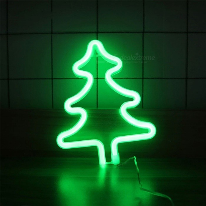 Tree Shaped Neon Light USB Rechargeable Battery Powered Decorative LED Night Light For Home Wall Decor Green/Clear/0-5W
