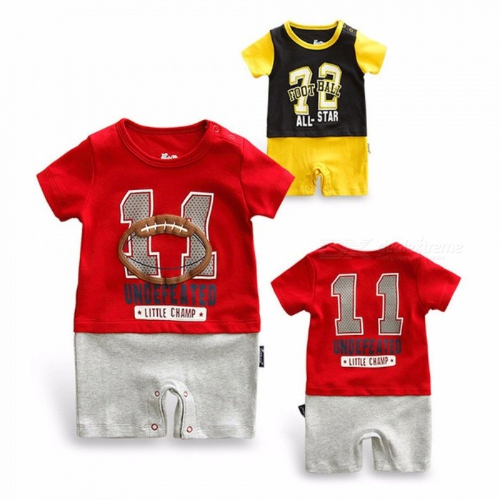 Summer Kids Comfortable Soft Clothing Newborn Baby Boys Cute Climbing Clothes Yellow/24M