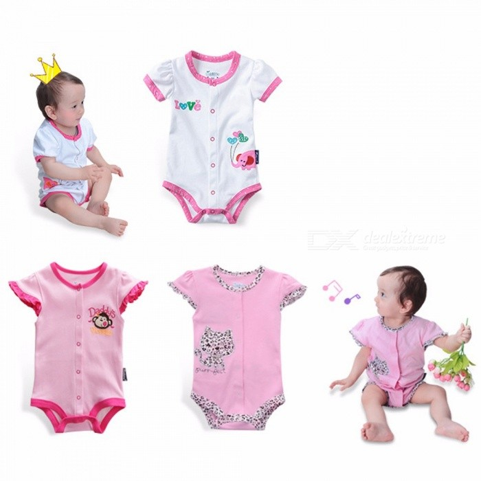 Newborn Baby Girls Climb Clothes Short Sleeved Jumpsuit Romper Multi/24M
