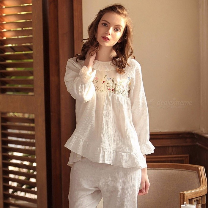 Women Cotton Pajamas Suit Set, Long-sleeved Thick Shirt + Warm Casual Pants For Autumn White/L